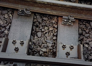 Track ballast - Track ballast (close up) between railway sleepers and under railway track