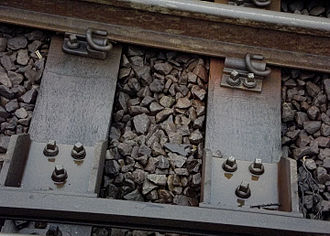 Track (rail transport) - Railway track (new) showing traditional features of ballast, part of sleeper and fixing mechanisms