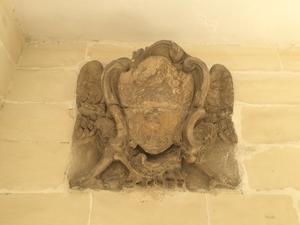 Defacement (vandalism) - Defaced coat of arms (probably of Emmanuel de Rohan-Polduc) in Santa Venera, Malta