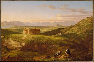 The Temple of Segesta with the Artist Sketching