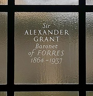 Sir Alexander Grant, 1st Baronet - Commemorative glass engraving to Sir Alexander Grant at National Library of Scotland