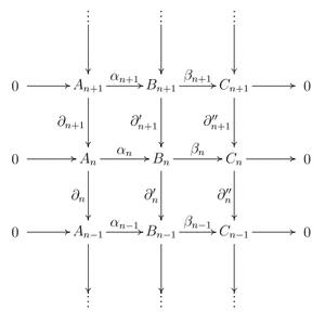 Zig-zag lemma - commutative diagram representation of a short exact sequence of chain complexes
