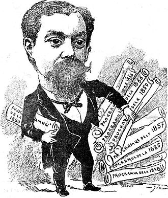 "Românul - Caricature of Vintilă C. A. Rosetti by Constantin Jiquidi. Rosetti is shown discarding his father's political manifestos and replacing them with his own ""Program of 1890"""