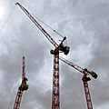 Construction tower cranes at Temple, City of London, England 02.jpg