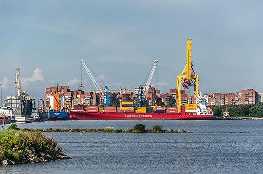 Container ship in Kronstadt
