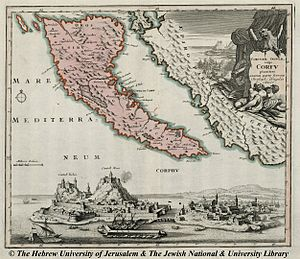 "Corfiot Italians - Map of Venetian Corfu by Christoph Weigel in 1720, when the Corfiot Italians were the majority in the capital ""Cittá di Corfu"""