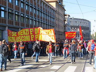 Matteo Renzi - Trade union protesters demonstrate near the Colosseum against Renzi's labour market reforms