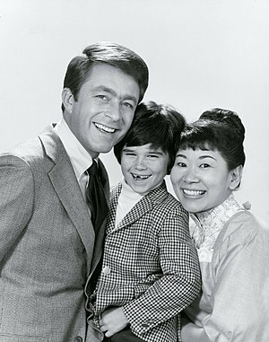 Brandon Cruz - Cruz (center) with The Courtship of Eddie's Father co-stars Bill Bixby and Miyoshi Umeki