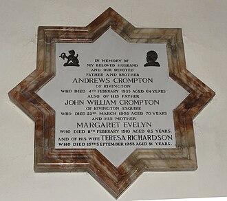 Rivington Unitarian Chapel - Image: Crompton memorial rivington unitarian chapel