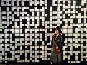Paulina Olowska - Crossword puzzle with lady in black coat, 2009. Stedelijk Museum Amsterdam.