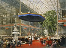 Dronning victoria åbner the great exhibition i the crystal palace i