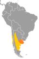 Cyanoliseus patagonus range map.png