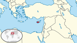 Location of Cyprus (dark red),within Near East