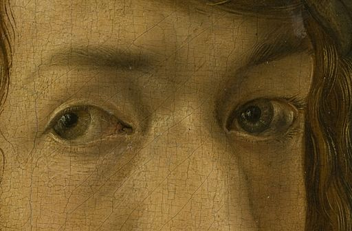 Dürer, Albrecht - Self-Portrait (Madrid), detail eyes - 1498