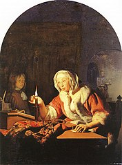 Woman Sealing a Letter by Candlelight