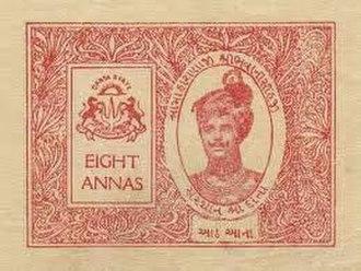 Danta State - Sir Bhavanisinhji on Danta State revenue stamp