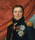 Painting of a square-faced man with a cleft chin and long sideburns. He wears a blue military uniform with gold epaulettes and several awards.