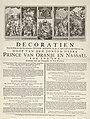 Decoraties voor het huis van de raadsheer Van der Mieden bij de doop van prins Willem V, 1748 Decoratien Voor het Huis van den Raadsheer Vander Mieden, op den 11. April 1748 de blyde Dach van den Doop van den Jongen Hee, RP-P-OB-46.845.jpg