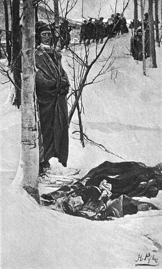 Raid on Deerfield - Illustration by Howard Pyle showing the march to Canada
