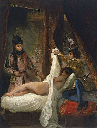 Candaulism - Duke of Orléans showing his Lover (Mariette d'Enghien) by Eugène Delacroix