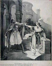 Rollenporträts von Julius Pellegrini als Gilbert de Boys und Wilhelmine Hasselt-Barth als Rebecka in Der Templer und die Jüdin (Lithographie) (Quelle: Wikimedia)