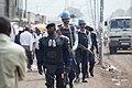 Des éléments de l'Unité de police constituée (FPU) et de la Police nationale congolaise (PNC) en patrouille à Goma, province du Nord Kivu, 7 décembre 2011. (6476017275).jpg