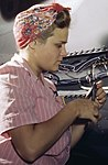 Detail, With careful Douglas training, women do accurate electrical assembly and installation work, Douglas Aircraft Company, Long Beach, Ca (cropped).jpg