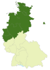 Map of Germany:Position of the 2nd Bundesliga Nord highlighted