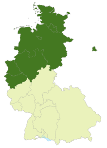 Map of West Germany and West Berlin: Position of the 2nd Bundesliga Nord highlighted