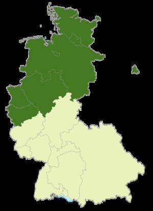 2. Bundesliga Nord (1974–81) - Image: Deutschland Lage der 2. Bundesliga Nord