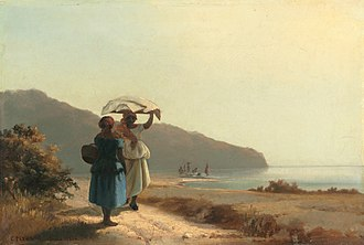 Camille Pissarro - Two Women Chatting by the Sea, St. Thomas, 1856