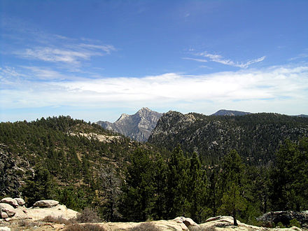 Sierra de San Pedro Martir, with Picacho del Diablo in the center Devils-Peak Sierra-SanPedroMartir BajaCalifornia Mexico.jpg