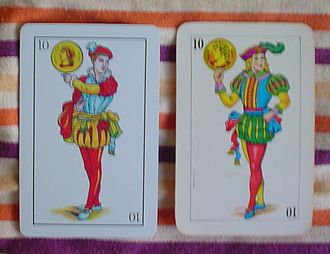 Spanish playing cards - Knave of coins, Castilian (left) and Mexican (right)