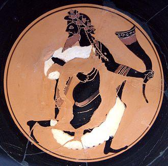 Oltos - Dionysos, interior image from a bilingual cup (A), Munich, Staatliche Antikensammlungen (Inv. 2593).