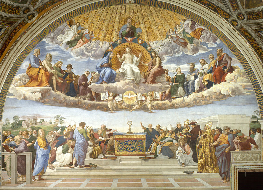 Disputation of the Holy Sacrament by Italian Renaissance artist Raphael, 1509-10 Disputa del Sacramento (Rafael).jpg