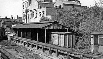 Southwold Railway - Disused terminal platforms of the former Southwold Railway at Halesworth, 1940