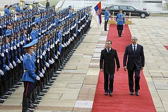 Foreign relations of Russia - President of Russia Dmitry Medvedev visiting Serbia, 2009