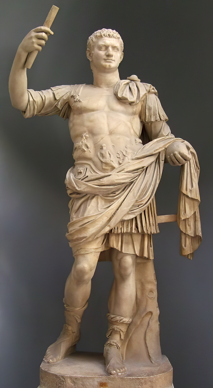Domitian as Emperor (Vatican Museums), possibly recut from a statue of Nero. Domitian statue Vatican.png