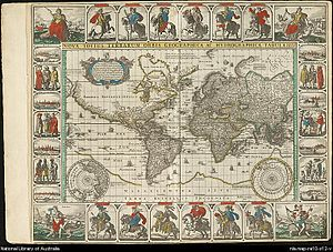 Map collection - Visscher, Cl.J., World Map. 1652., in Doncker, Hendrick, Sea Atlas (1659 ed.), from the map collection of the National Library of Australia.