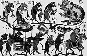 Đông Hồ painting - The black-and-white Đám cưới chuột