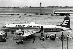 British Eagle - Douglas DC-6A wearing Eagle Airways titles at London Heathrow Airport during August 1960