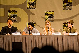 Drag Me to Hell - Director Sam Raimi, actors Dileep Rao, Alison Lohman, and Justin Long discussing the film at San Diego Comic-Con International in 2008.