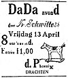 Dragtster Courant 1923-04-13 advertisement Dada avond door K. Schwitters in De Phoenix in Drachten.jpg