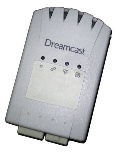 "The official Dreamcast 4x memory card has several lights on its front indicating the currently used storage ""page"". Dreamcast MemoryCard4X.jpg"