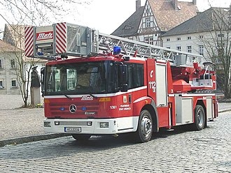 German fire services - A Mercedes-Benz truck serving as Turntable ladder