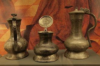 Tinware - Three decorative tin cans of the 15th century at Museum für Hamburgische Geschichte