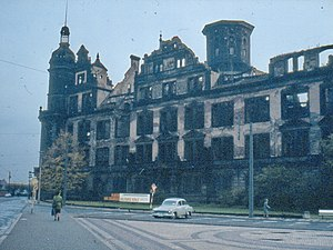 Dresden Castle - Ruins of the castle in 1980