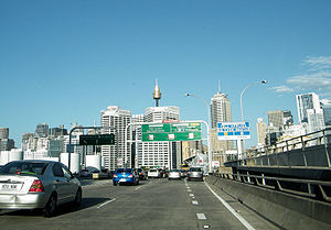 Western Distributor (Sydney) - Eastbound traffic on the Western Distributor traveling into the Sydney CBD