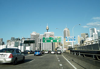 Western Distributor (Sydney) - Eastbound traffic on the Western Distributor traveling into the Sydney CBD