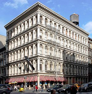 SoHo, Manhattan - The E. V. Haughwout Building at Broadway and Broome Street was built in 1856–57, and has a cast-iron facade by Daniel D. Badger